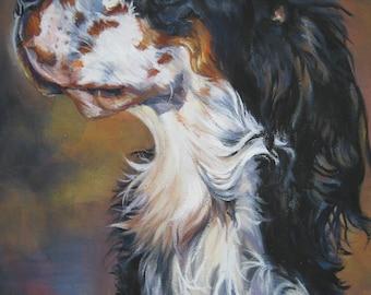 "ENGLISH SETTER dog portrait art canvas PRINT of LAShepard dog painting 11x14"""