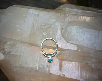 Turquoise Septum Ring - Sterling Silver - Handmade Septum Jewelry - Septum Piercing