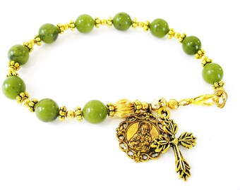 IRISH Green CONNEMARA Marble Single Decade GOLD Sacred Heart of Jesus Blessed Virgin Mary Rosary Bracelet-Ireland Jewely