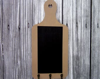 Hanging Chalkboard, Chalkboard with Hooks, Brown, Blackboard, Office, Grocery List, Kitchen, Key Hooks, Entryway, Mudroom, Painted Wood
