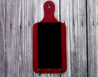 Chalkboard, Key Hooks, Red, Blackboard, Hanging Chalkboard, Office, Grocery List, Kitchen, Entryway, Mudroom, Painted Wood