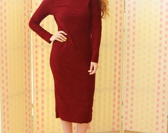 Women's dress, velvet, long sleeves, turtleneck, straight , body fitted, midi, stretch fabric , red wine color, sexy dress, marsala color