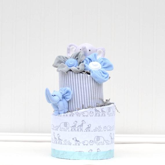 Elephant Shower Boy, Elephant Shower Cake,  Elephant Baby Shower Gift, Cake Table Decor, Gray Diaper Cake for Boys, Blue Elephant Theme