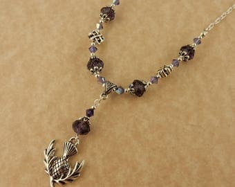 Silver Scottish Thistle Necklace with purple crystals