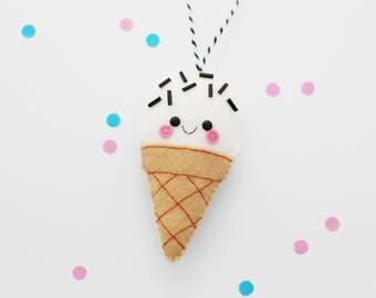 Monochrome Ice Cream Felt Decoration, Hanging Ornament, Christmas Tree Decor