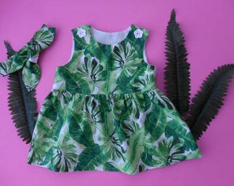 Baby toddler dress pinafore green jungle style banana palm leaves matching top knot headband