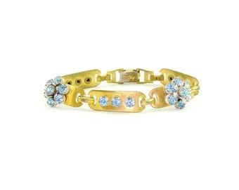 Vintage Blue Rhinestone Bracelet | Flower Bracelet | 1940s Bracelet
