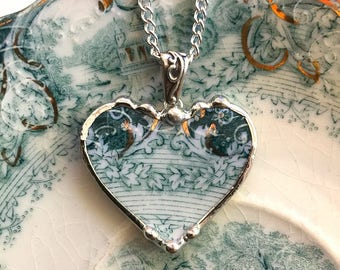 Antique teal English Transferware - Broken China Jewelry heart pendant necklace - ivy vine - recycled china