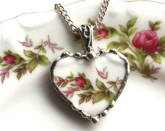 Broken china jewelry - china heart pendant necklace  - antique Haviland moss rose porcelain heart pendant