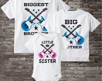 Set of Three Biggest Brother, Big Brother and Little Sister Shirt or Onesie 02202015g