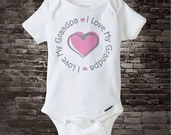I Love My Grandpa Onesie or Shirt - Girl's I love my Grandpa with Pink Heart Tee Shirt or Onesie 06122017d