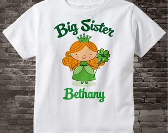 Irish Big Sister Shirt, Personalized Big Sister Shirt or Onesie, Big Sister Shirt for Toddlers and Kids 02062012a