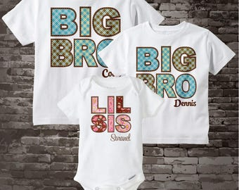 Matching Set of Three - Big Brother Big Brother Little Sister - Shirt or Onesie Set - Personalized Sibling Pregnancy Announcement 10262011a