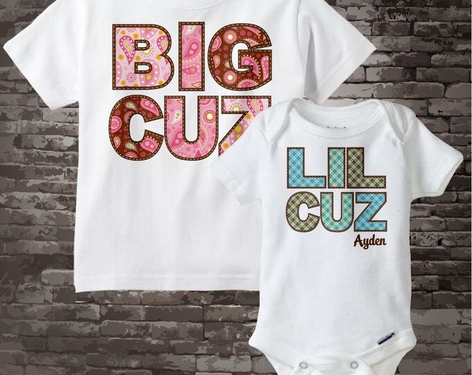 Matching Set of 2 Big Cousin Little Cousin Personalized Shirt or Onesie Pregnancy Announcement - Price is for Both 01062014d