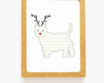Holiday Westie Dog Reindeer Card for Christmas Greetings or Happy New Year Cards