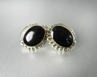 Black Onyx Earrings Vintage Sterling Silver Oval Polished Stone Silver Leaf Dot Pattern Signed Mexico