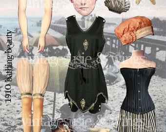 Vintage Art Paper Doll Collage Sheet '1910 BATHING BEAUTY' Digital Download ADORABLE Paper Doll