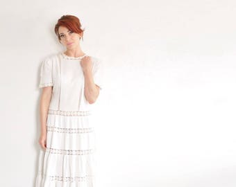 white cotton 1930 daisy dress . floral embroidered rows and tiers .small.medium .sale