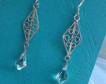 Crystal drop earrings- filigree earrings,tilak cut crystal, sterling silver earrings,rock crystal earrings, wedding jewelry