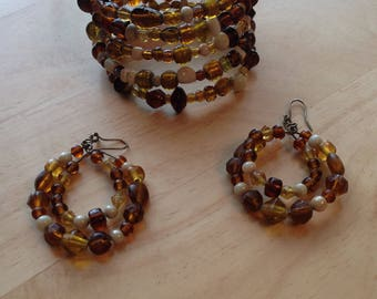 Earth Tone Glass Bead Boho Coil Bracelet and Earrings Pierced Brown Amber Ivory