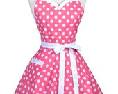 Sweetheart Retro Apron - Womens 50s Style Pink Polka Dot Vintage Inspired Pinup Apron with Personalized Monogram Option (DP)