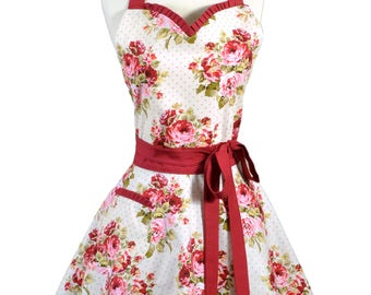 Sweetheart Pinup Womens Apron . Red Roses on Ivory Retro Vintage Style Old Fashioned Flirty Kitchen Cooking Apron with Fitted Bodice (CS)