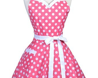 Sweetheart Womens Retro Apron in Pink Polka Dot Pinup Hostess Apron with Personalized Monogram Option