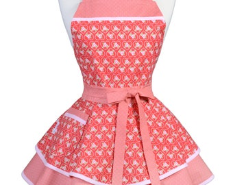 Womens Ruffled Retro Apron in Hearts of Love Wedding or Valentine Vintage Kitchen Apron with Pocket and Personalized Monogram Option