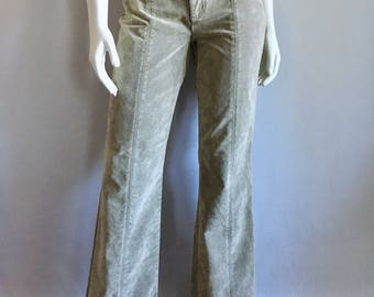 Vintage Women's 90's DKNY, Sueded Pants, Low Waisted, Flare Leg (M)