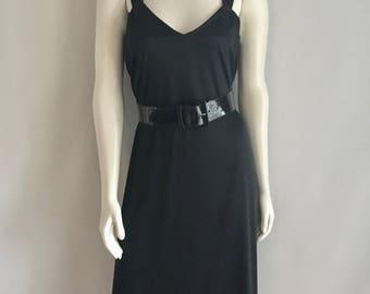 Vintage Women's 80's Black, Disco Dress, Sleeveless, Knee Length by Chez (L)