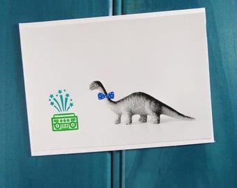 Hipster Dinosaur Blank Greeting Card