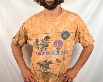 Vintage 90s Southwest Desert All Over Print Souvenir New Mexico Tee Shirt Tshirt