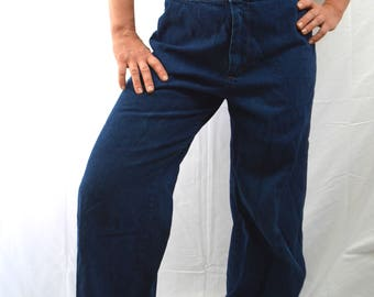 Vintage 1970s Hippie Dark Wash High Waisted Denim Flare Bell Bottom Jeans - by Yes!