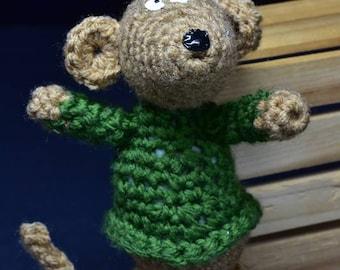 Mr. Mouse crocheted stuffed animal, stuffed animal, stuffed mouse, stuffed toy, plushies, amigurumi, fiber art, handmade toy, crochet toy