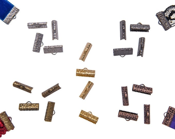 16mm or 5/8 inch Ribbon Clamps Ends Crimps with OR without Loop - 20 pieces in Mixed Finishes - Artisan Series