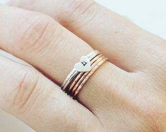 Skinny Heart Stacking Ring, Sterling Silver Initial Stacking Ring, Letter Heart Stacking Ring, Silver Heart Ring