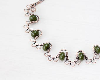 Copper Necklace with Olive Green Lampwork Beads, Wire Wrapped Copper Wire Waves on Solid Copper Chain