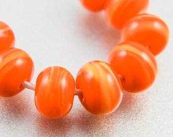 Streaky Orange Yellow Glass Spacer Beads, Handmade Jewelry Supplies, Variegated