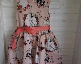 Moomin girls princess birthday dress 104 cm 3-4Y pink cotton fabric tillukka Finland