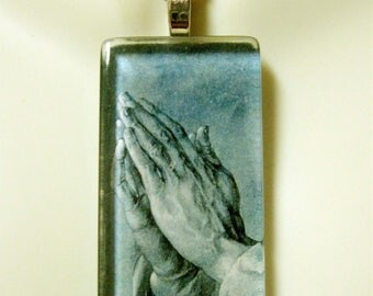 Praying Hands pendant with chain - GP01-529 blue