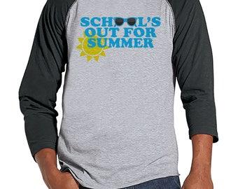 Teacher Shirts - School's Out For Summer - Teacher Gift - Teacher Appreciation Gift - Blue Sunglasses Summer Shirt - Men's Grey Raglan Tee