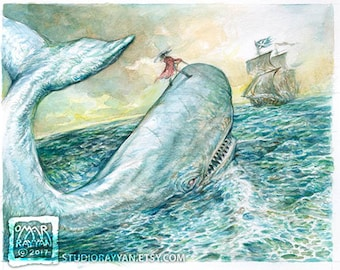 Baron in a Moby DIck - extraordinary adventures of Baron Munchausen watercolor illustration