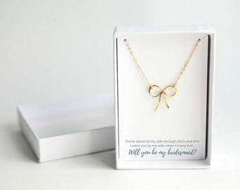 Bow Bridesmaid Wedding - Dainty Bow Necklace - Bridesmaid Gift Ideas - Will You Be My Bridesmaid Gift - Bridesmaid Bow Necklace