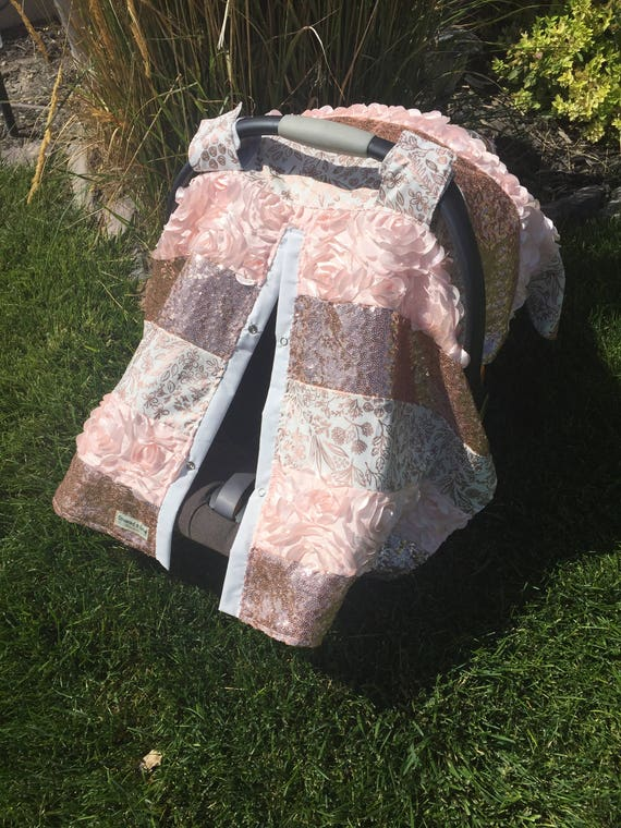 CAR SEAT COVER / car seat canopy / nursing cover / carseat cover / carseat canopy / ooak / sequin / infant car seat cover / gold / sparkle