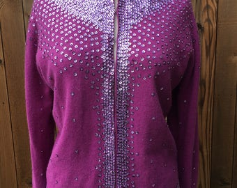 Vintage 1950s fuchsia cardigan sweater covered w/ sequins & seed beads. Fantastic for Valentine's Day! Fully lined. Lana/Angora/Nylon.