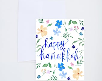 Holiday Greeting Cards - Happy Hanukkah - Floral Print - Single A-2 Card
