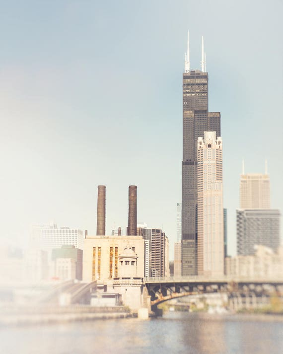 Sears Tower, Chicago Photograph, Taylor Street, Skyline Photography - Chicago wall art, pale blue, light beige, Smoke Stack, Pastel Colors