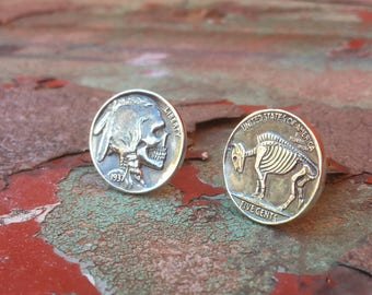 Sterling Silver Cuff Links Buffalo / Indian Head Nickel Skeleton Skull/ Buffalo Skeleton Hobo Nickel Cufflinks