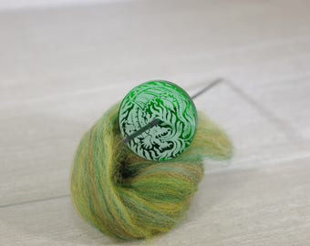 "Chinook Dragon Oversized Tahkli Support Spindle in Emerald - 1.75"" whorl diameter, 13 g, 9.5"" tall"