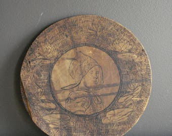 Girl with Dragonflies - Vintage Wood Burning Art - Pyrography - Young Girl Vintage Drawing on Wood